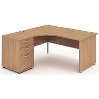Impulse Panel End Corner Desk with 600mm Pedestal, Left Hand, 1600mm Wide, Beech