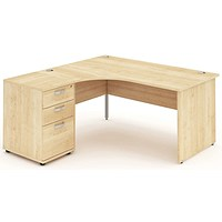 Impulse Panel End Corner Desk with 600mm Pedestal, Left Hand, 1600mm Wide, Maple