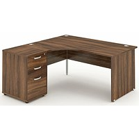 Impulse Panel End Corner Desk with 600mm Pedestal, Left Hand, 1800mm Wide, Walnut, Installed