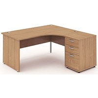 Impulse Panel End Corner Desk with 600mm Pedestal, Right Hand, 1600mm Wide, Beech