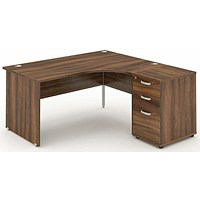 Impulse Panel End Corner Desk with 600mm Pedestal, Right Hand, 1600mm Wide, Walnut, Installed