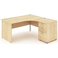 Impulse Panel End Corner Desk with 600mm Pedestal, Right Hand, 1600mm Wide, Maple