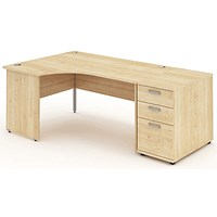 Impulse Panel End Corner Desk with 800mm Pedestal, Left Hand, 1600mm Wide, Maple