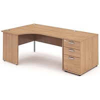 Impulse Panel End Corner Desk with 800mm Pedestal, Left Hand, 1800mm Wide, Beech, Installed