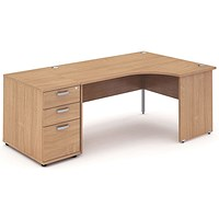 Impulse Panel End Corner Desk with 800mm Pedestal, Right Hand, 1600mm Wide, Beech, Installed