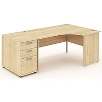 Impulse Panel End Corner Desk with 800mm Pedestal, Right Hand, 1600mm Wide, Maple