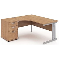 Impulse Plus Corner Desk with 600mm Pedestal, Left Hand, 1600mm Wide, Silver Cable Managed Legs, Beech