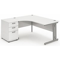 Impulse Plus Corner Desk with 600mm Pedestal, Left Hand, 1600mm Wide, Silver Cable Managed Legs, White