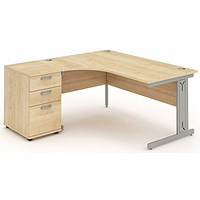 Impulse Plus Corner Desk with 600mm Pedestal, Left Hand, 1600mm Wide, Maple, Installed