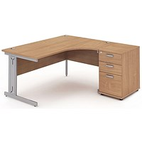 Impulse Plus Corner Desk with 600mm Pedestal, Right Hand, 1600mm Wide, Silver Cable Managed Legs, Beech