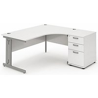 Impulse Plus Corner Desk with 600mm Pedestal, Right Hand, 1600mm Wide, Silver Cable Managed Legs, White
