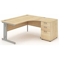 Impulse Plus Corner Desk with 600mm Pedestal, Right Hand, 1600mm Wide, Silver Cable Managed Legs, Maple