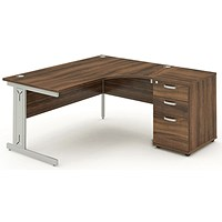 Impulse Plus Corner Desk with 600mm Pedestal, Right Hand, 1800mm Wide, Silver Cable Managed Legs, Walnut