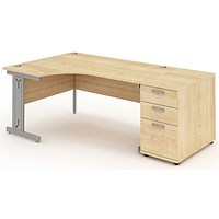 Impulse Plus Corner Desk with 800mm Pedestal, Left Hand, 1600mm Wide, Maple
