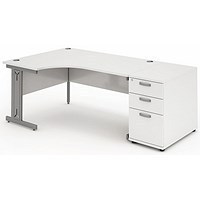 Impulse Plus Corner Desk with 800mm Pedestal, Left Hand, 1800mm Wide, Silver Cable Managed Legs, White