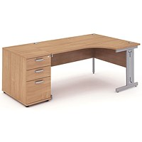Impulse Plus Corner Desk with 800mm Pedestal, Right Hand, 1600mm Wide, Silver Cable Managed Legs, Beech
