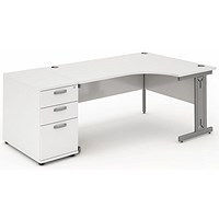 Impulse Plus Corner Desk with 800mm Pedestal, Right Hand, 1800mm Wide, Silver Cable Managed Legs, White