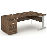 Impulse Plus Corner Desk with 800mm Pedestal, Right Hand, 1800mm Wide, Silver Cable Managed Legs, Walnut