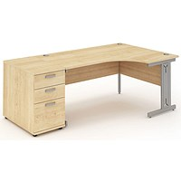 Impulse Plus Corner Desk with 800mm Pedestal, Right Hand, 1800mm Wide, Silver Cable Managed Legs, Maple