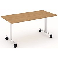 Impulse Flip Top Rectangular Table, 1600mm Wide, Beech