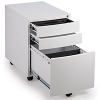 Impulse 3 Drawer Steel Mobile Pedestal, White