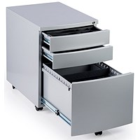 Impulse 3 Drawer Steel Mobile Pedestal, 565mm Deep, Silver