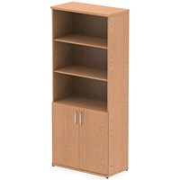 Impulse Tall Cupboard, Open Shelves, 2000mm High, Oak