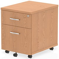 Impulse 2 Drawer Mobile Pedestal, 500mm Deep, Oak