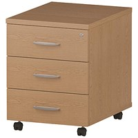Impulse 3 Drawer Mobile Pedestal, 500mm Deep, Oak