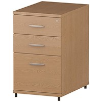 Impulse 3 Drawer Desk High Pedestal, 600mm Deep, Oak