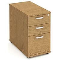 Impulse 3 Drawer Desk High Pedestal, 800mm Deep, Oak