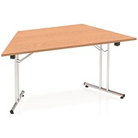 Impulse Trapezoidal Folding Meeting Table, 1600mm, Oak