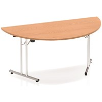 Impulse Semi-circular Folding Meeting Table, 1600mm, Oak