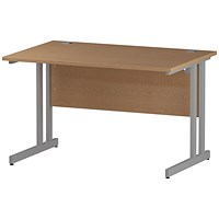 Impulse Rectangular Desk, 1200mm Wide, Silver Legs, Oak