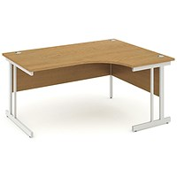 Impulse Corner Desk, Right Hand, 1600mm Wide, Oak, Installed