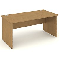 Impulse Panel End Desk, 1400mm Wide, Oak, Installed