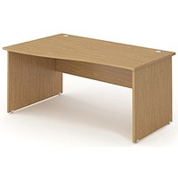 Impulse Panel End Wave Desk, Left Hand, 1600mm Wide, Oak, Installed