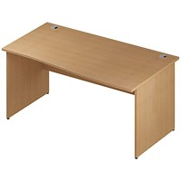 Impulse Panel End Wave Desk, Right Hand, 1600mm Wide, Oak