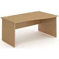 Impulse Panel End Wave Desk, Right Hand, 1600mm Wide, Oak, Installed