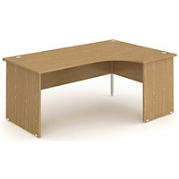 Impulse Panel End Corner Desk, Right Hand, 1800mm Wide, Oak, Installed