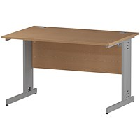 Impulse Plus Rectangular Desk, 1200mm Wide, Silver Cable Managed Legs, Oak