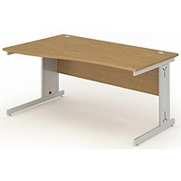Impulse Plus Wave Desk, Left Hand, 1600mm Wide, Oak, Installed