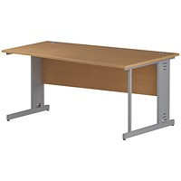 Impulse Plus Wave Desk, Right Hand, 1600mm Wide, Silver Cable Managed Legs, Oak