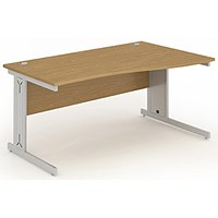 Impulse Plus Wave Desk, Right Hand, 1600mm Wide, Oak, Installed