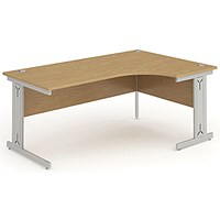 Impulse Plus Corner Desk, Right Hand, 1600mm Wide, Oak, Installed