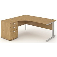 Impulse Corner Desk with 600mm Pedestal, Left Hand, 1600mm Wide, Silver Legs, Oak