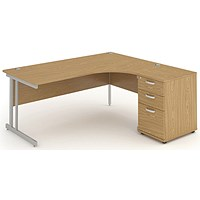 Impulse Corner Desk with 600mm Pedestal, Right Hand, 1600mm Wide, Silver Legs, Oak