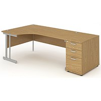 Impulse Corner Desk with 800mm Pedestal, Left Hand, 1800mm Wide, Silver Legs, Oak