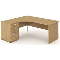 Impulse Panel End Corner Desk with 600mm Pedestal, Left Hand, 1600mm Wide, Oak