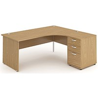 Impulse Panel End Corner Desk with 600mm Pedestal, Right Hand, 1800mm Wide, Oak, Installed